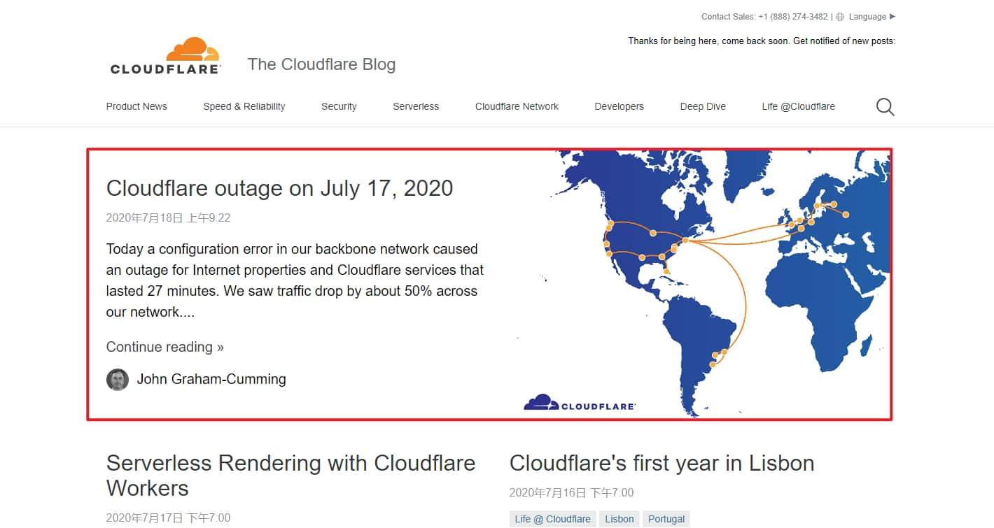 Cloudflare 博客 首页 Outages 文章