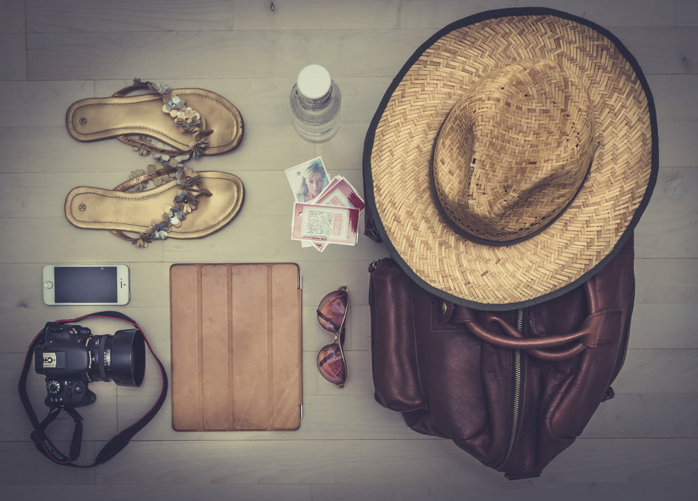 travel items flat lay photography