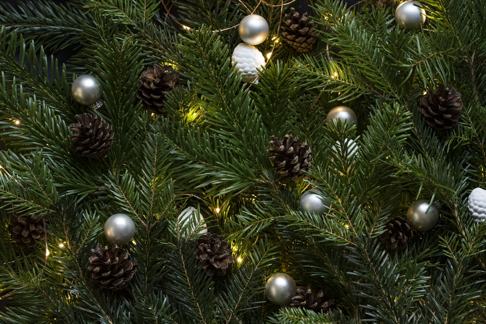 closeup photo of Christmas tree with ornament and lighted lights