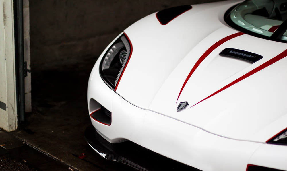 white and red car