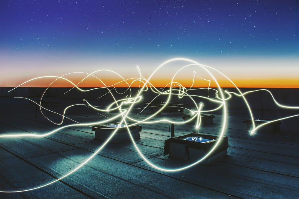 time lapse photography of square containers at night