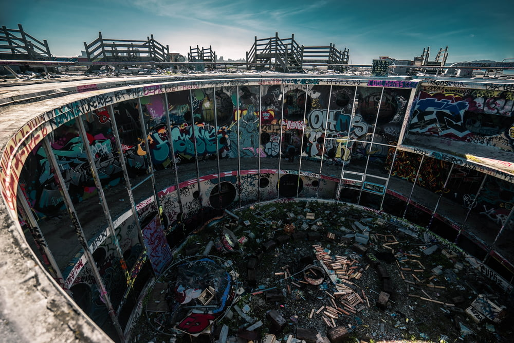 areal view of abandoned building at daytime