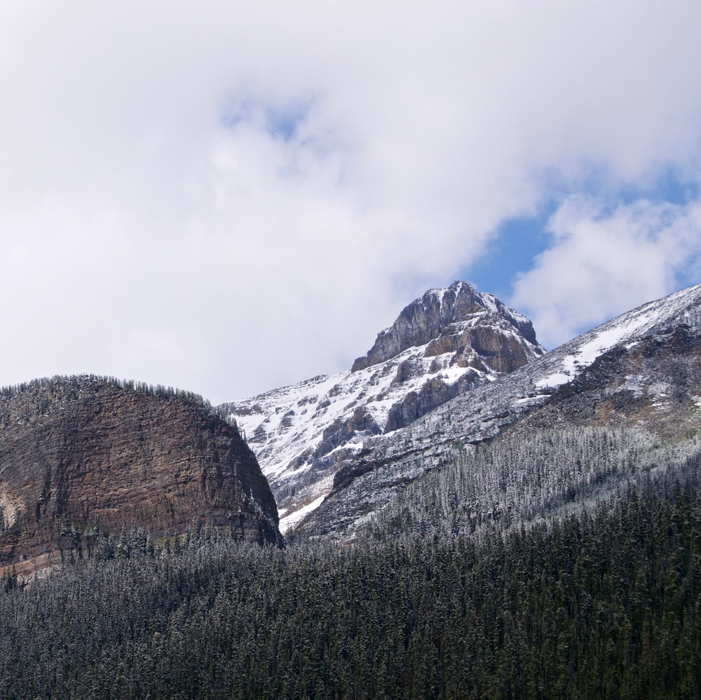 mountain range covered with snow surrounded by pine trees under white clouds during daytime
