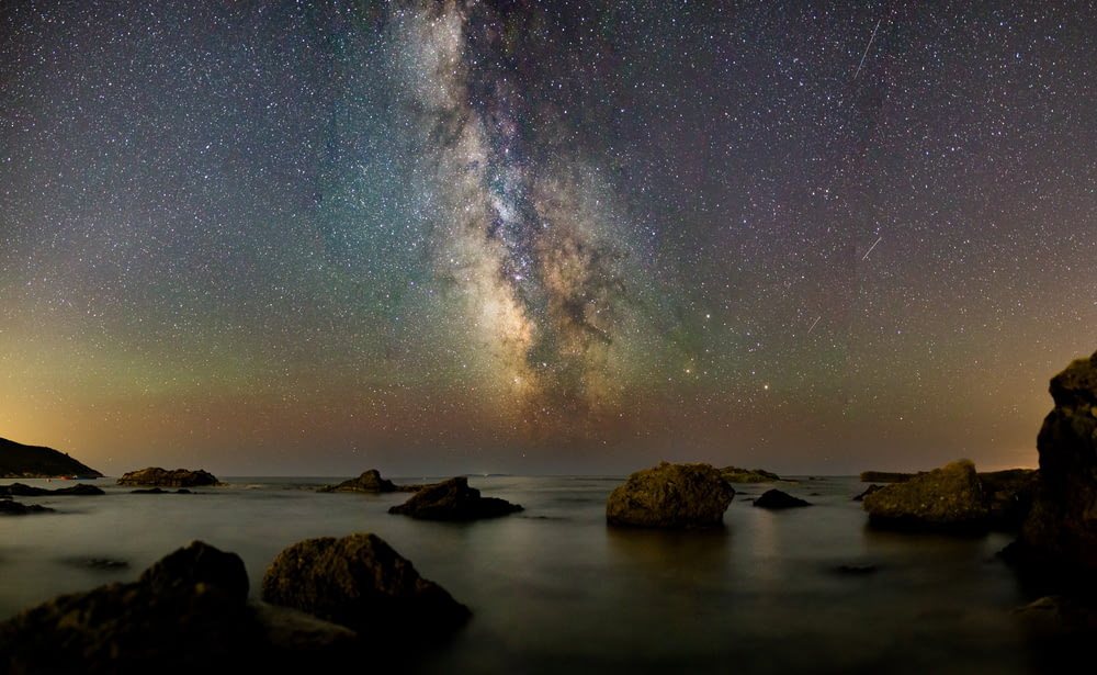 rocks under milky way