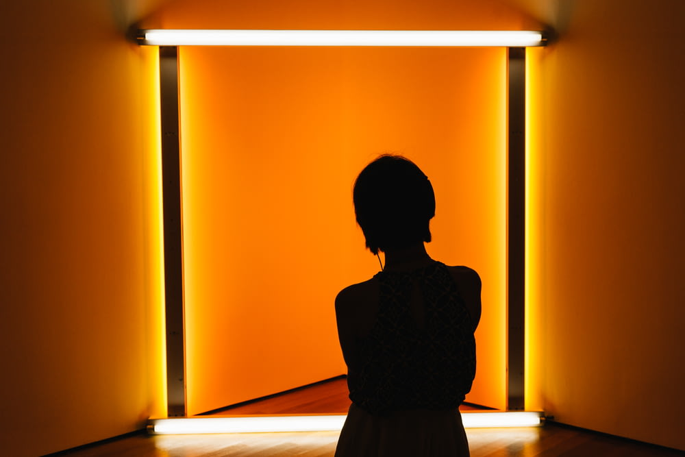 silhouette of woman standing in front of orange wall