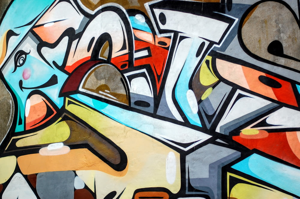 multicolored graffiti wall art