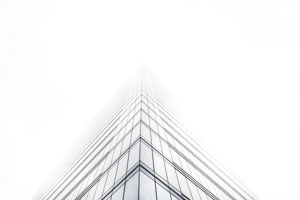 bottom view of glass building