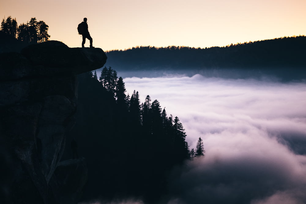 silhouette photo of man standing in mountain overlooking trees at daytime