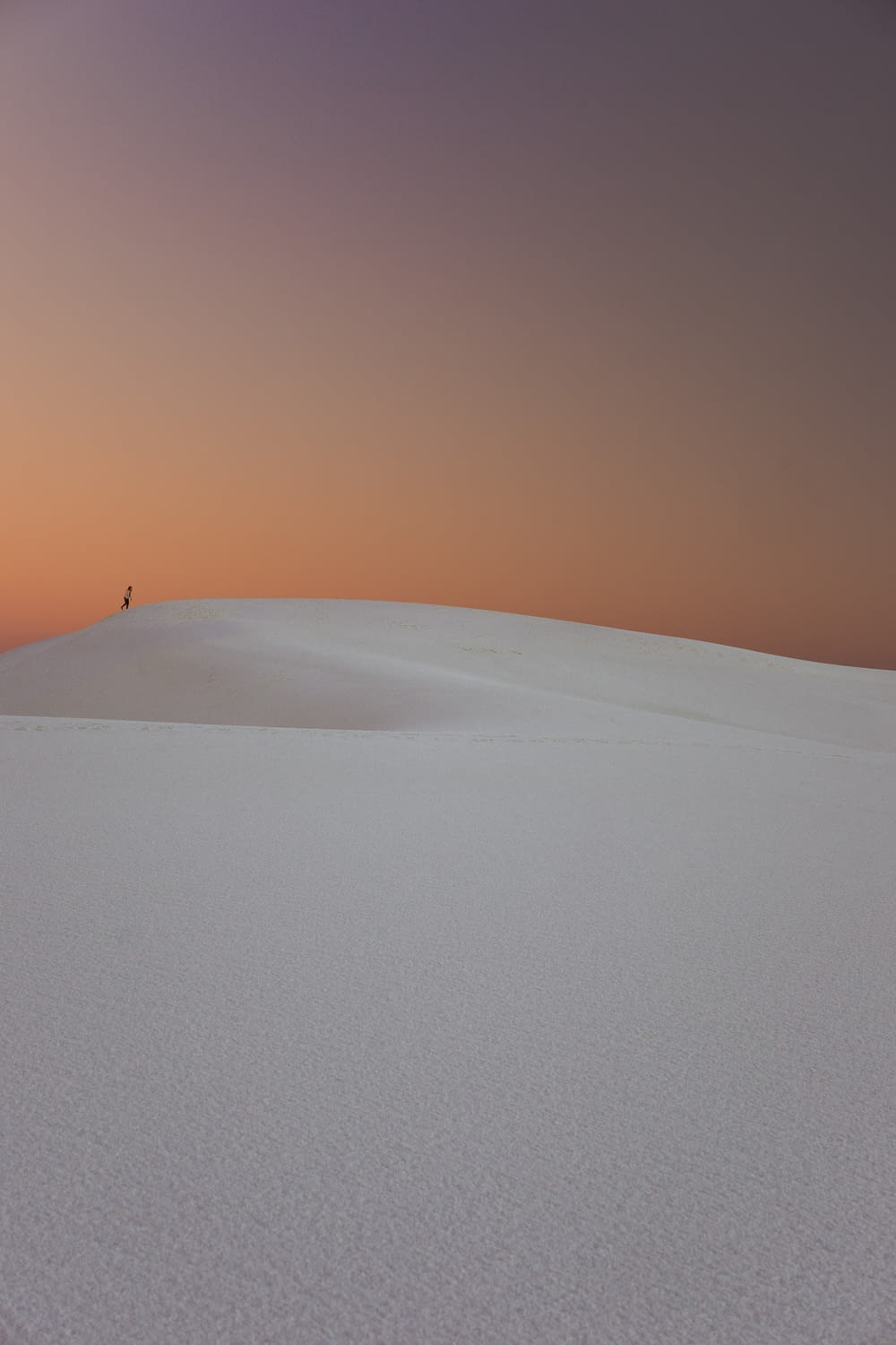 person walking in the desert dunes