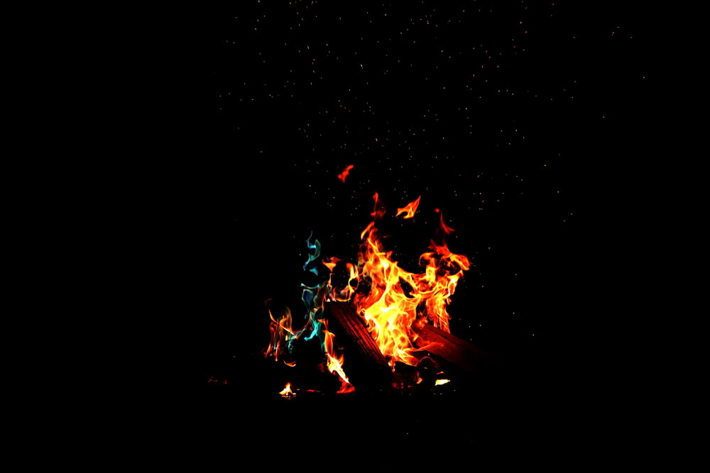 low-light photography of fire