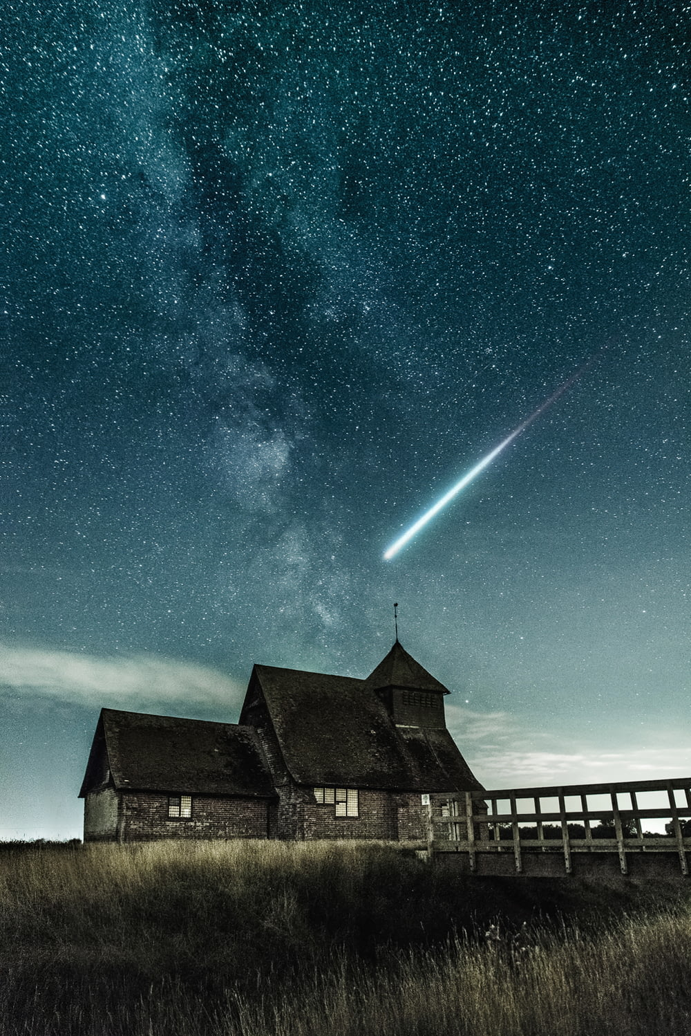brown house under stary night