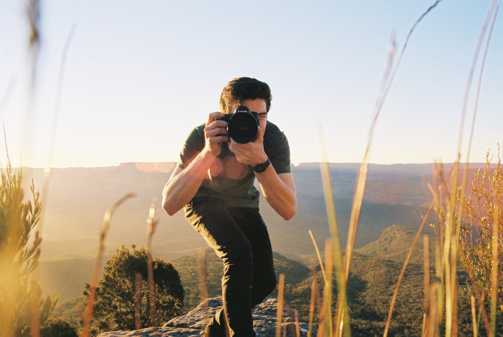 man taking picture