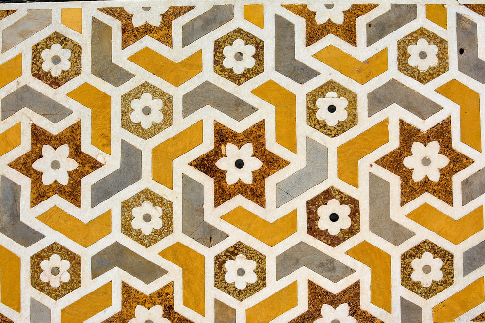 brown, white, and yellow floral pattern