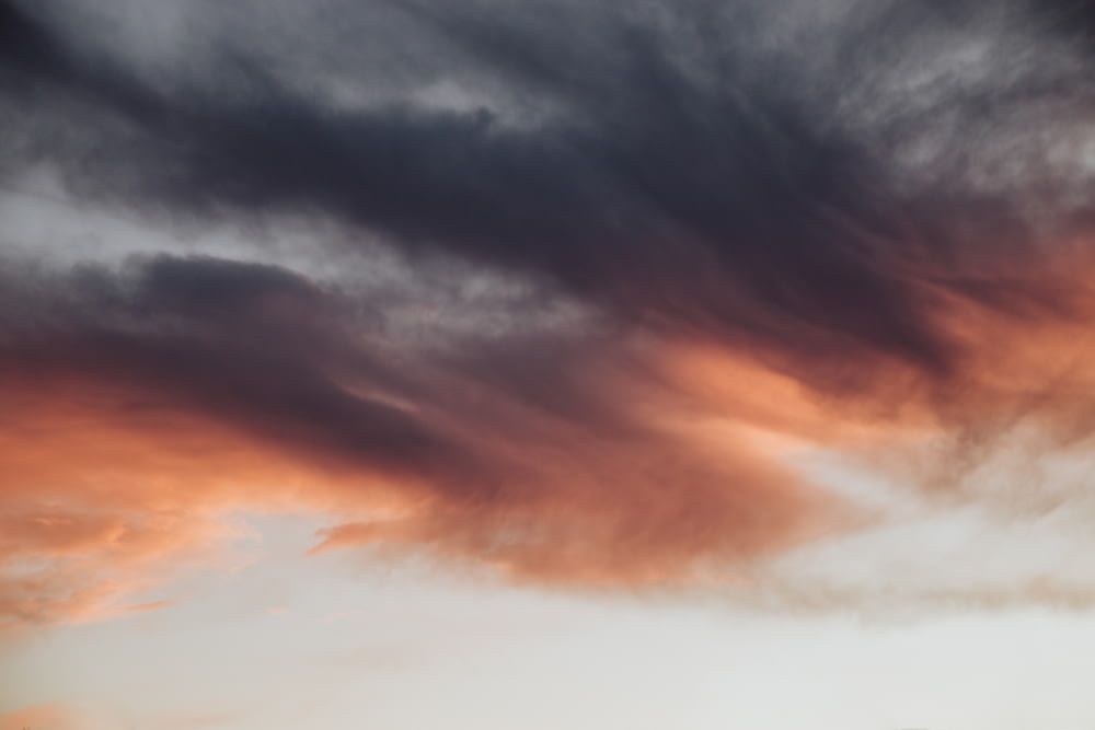 grey and orange clouds