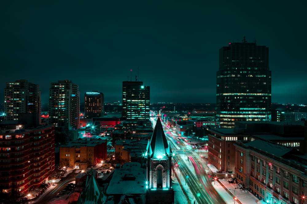timelapse photography of cityscape at night