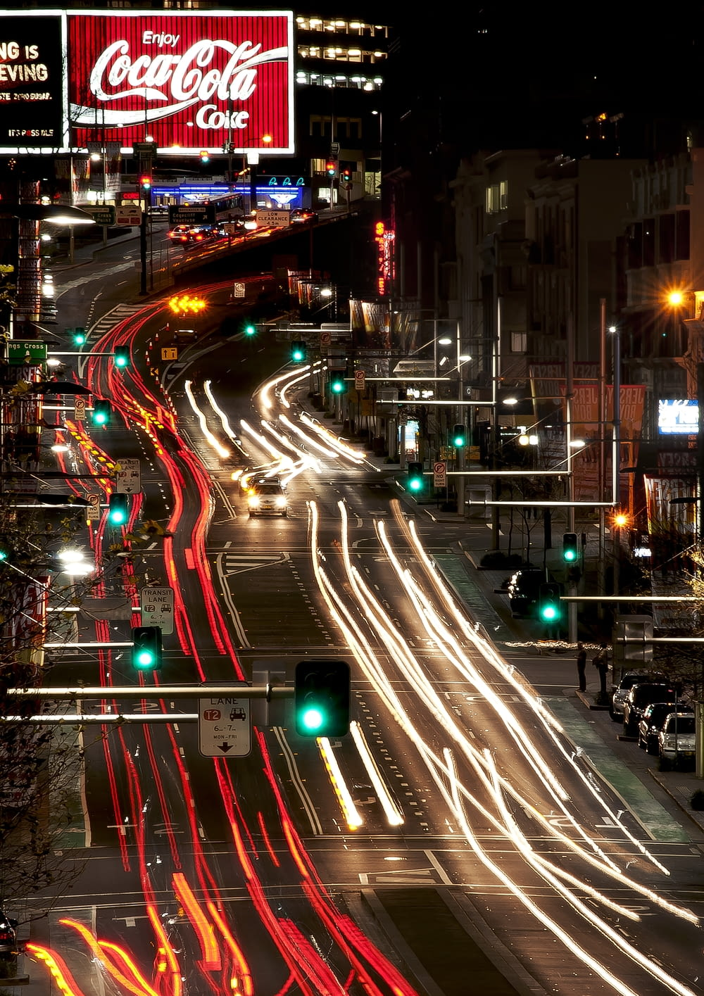 time-lapse photography of city lights by night