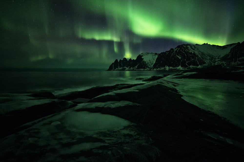 Northern Lights over mountain