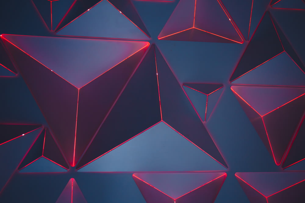 blue and red triangles wallpaper