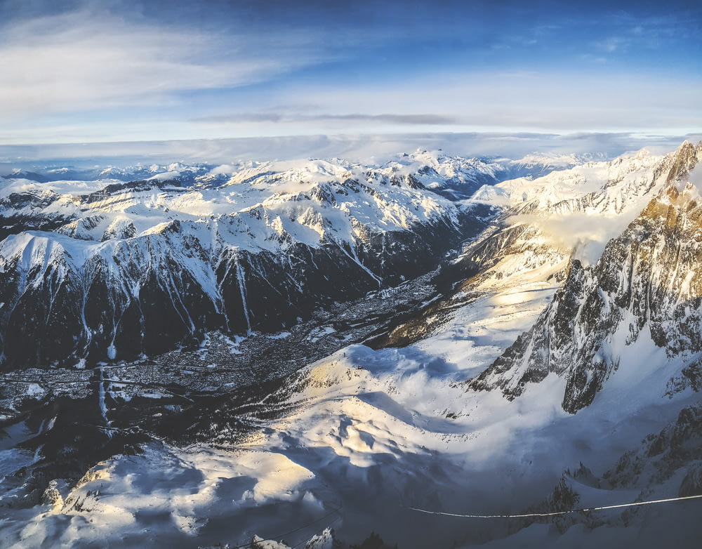 aerial photography of snowy mountain