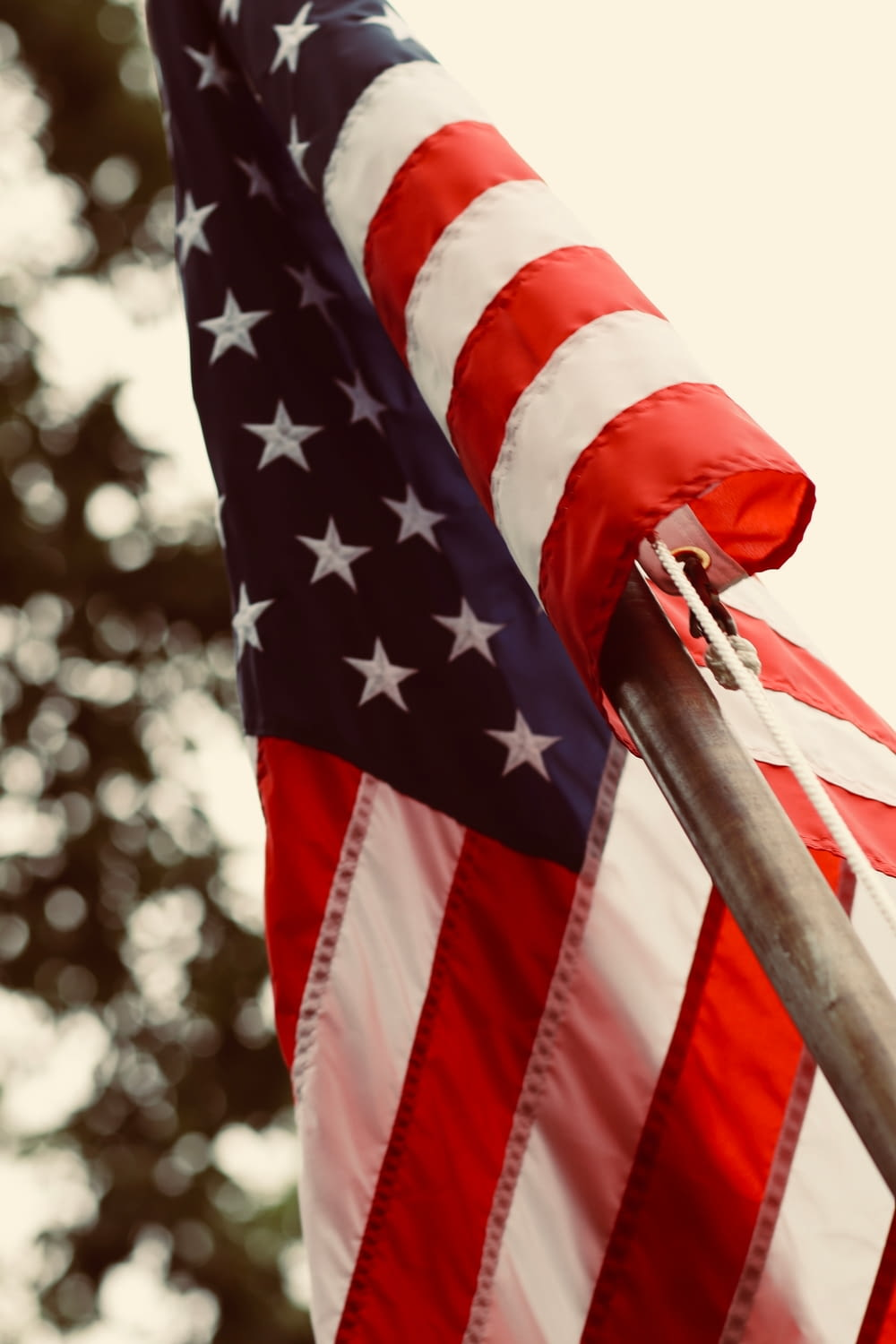 showing American flag