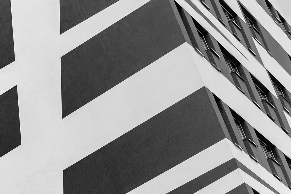 white and black painted building