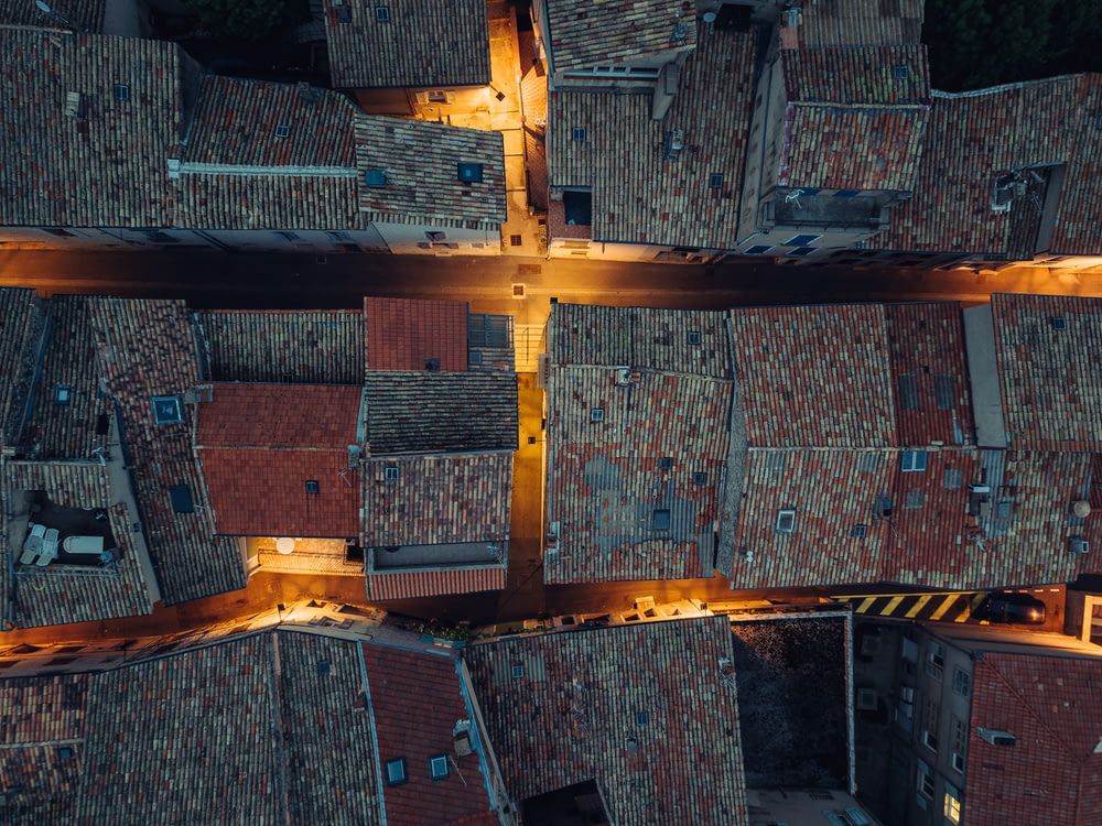 aerial photography of house roofs