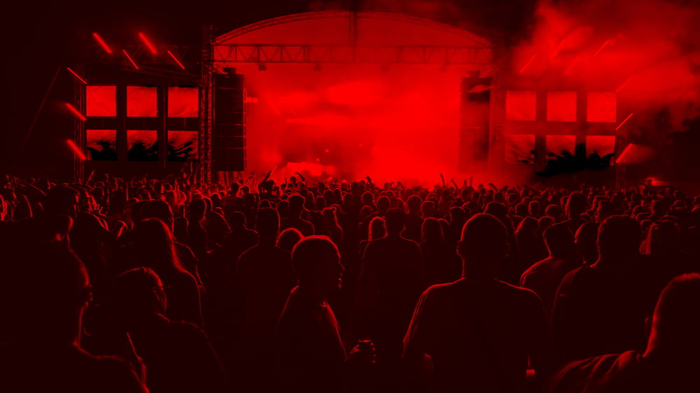 people inside concert ground at night
