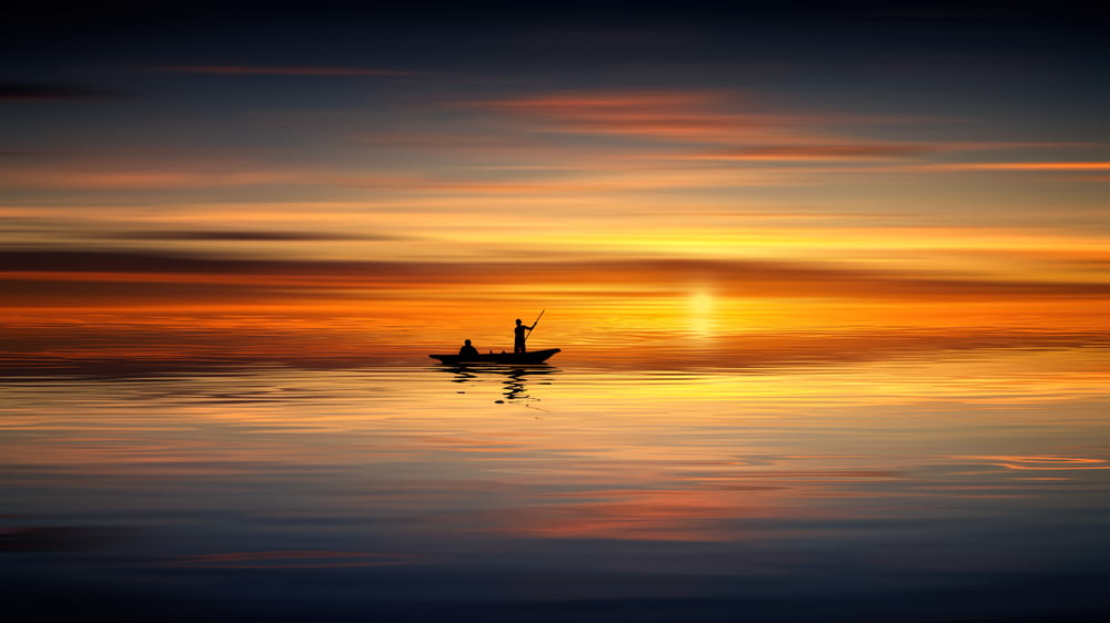 silhouette photo of person on boat