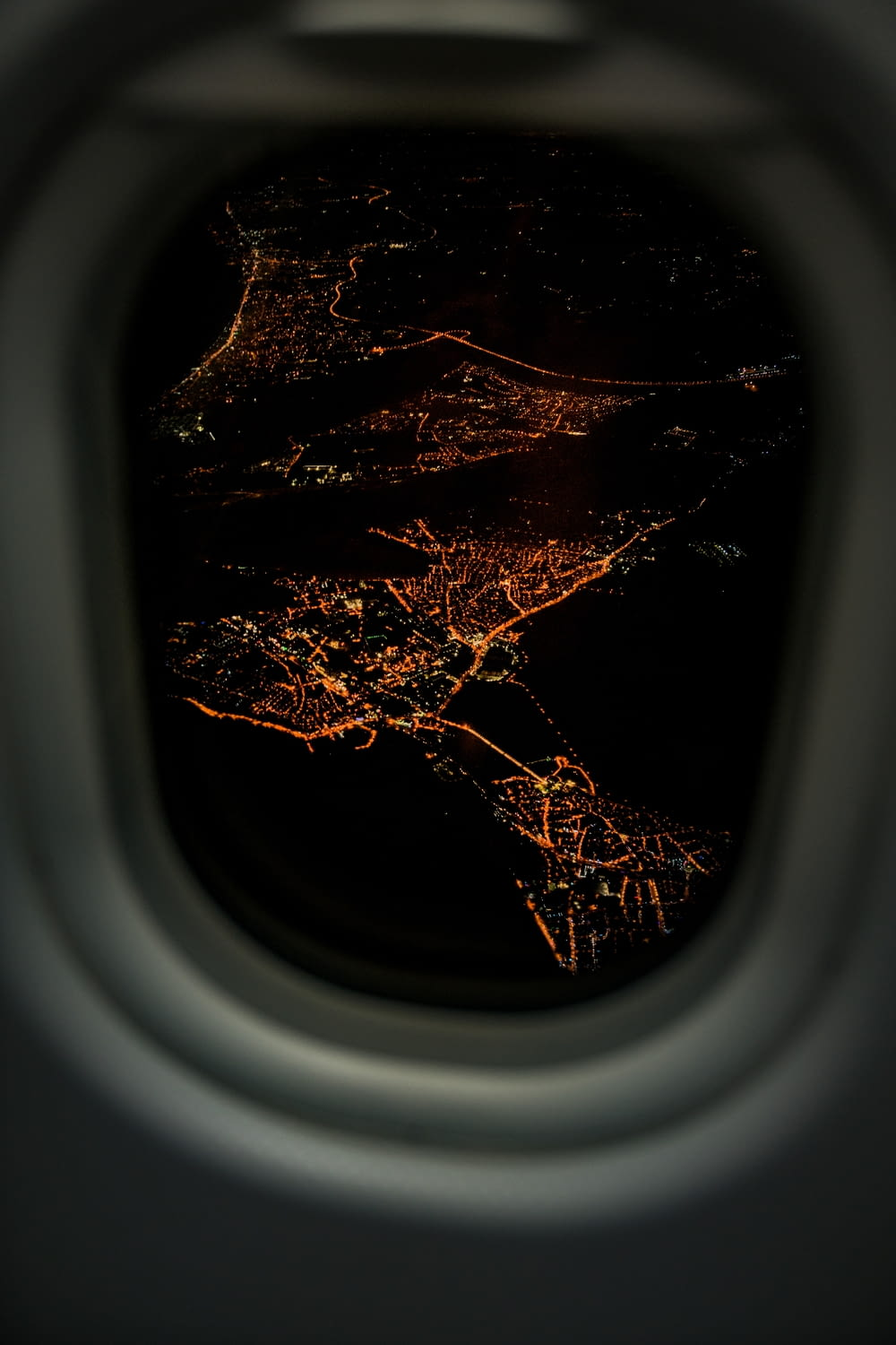 lighted city airplane view