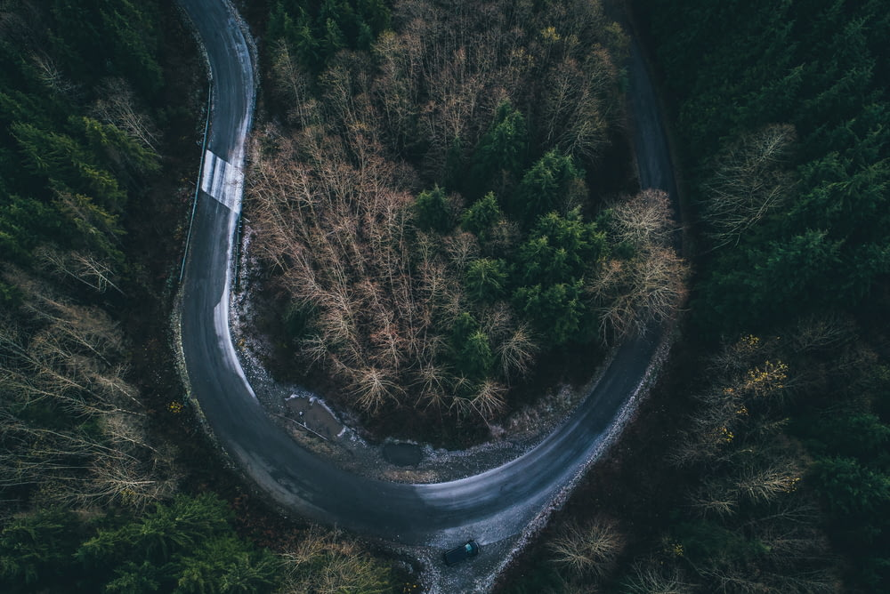 aerial photography of curved road
