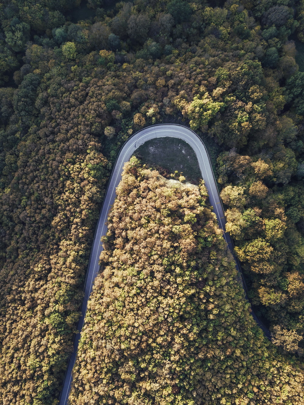 birds eye view road
