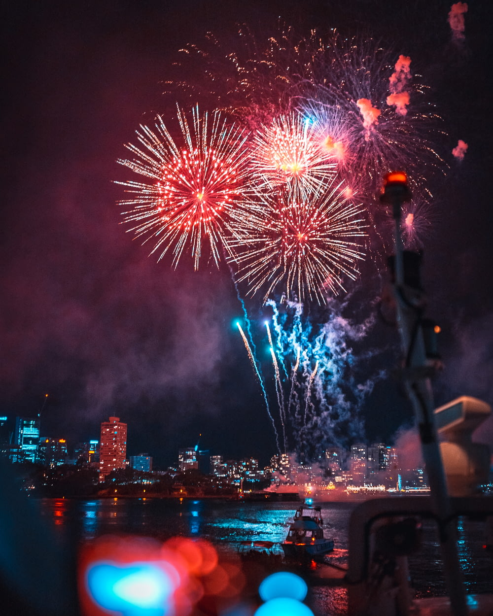 selective focus photography of fireworks display at night