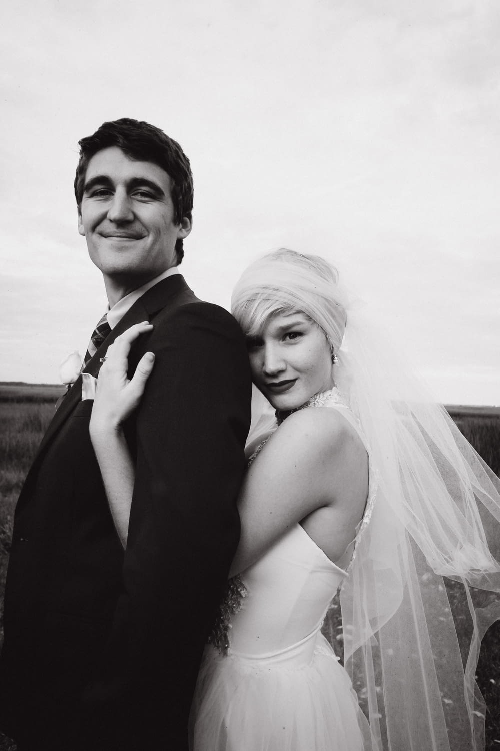 newly wed couple grayscale photo