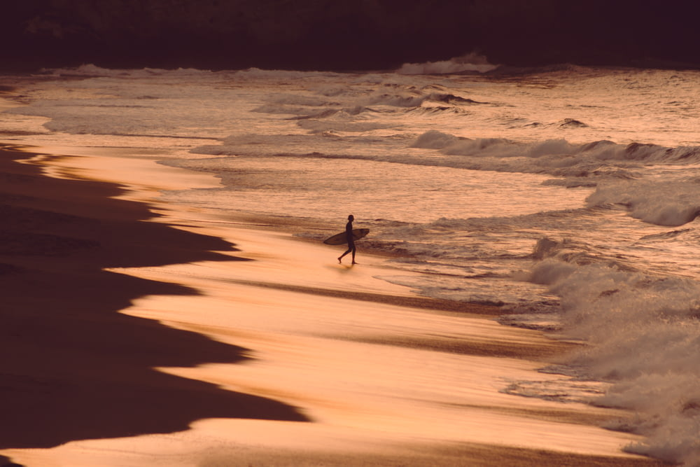 person holding surfboard on seashore during golden hour