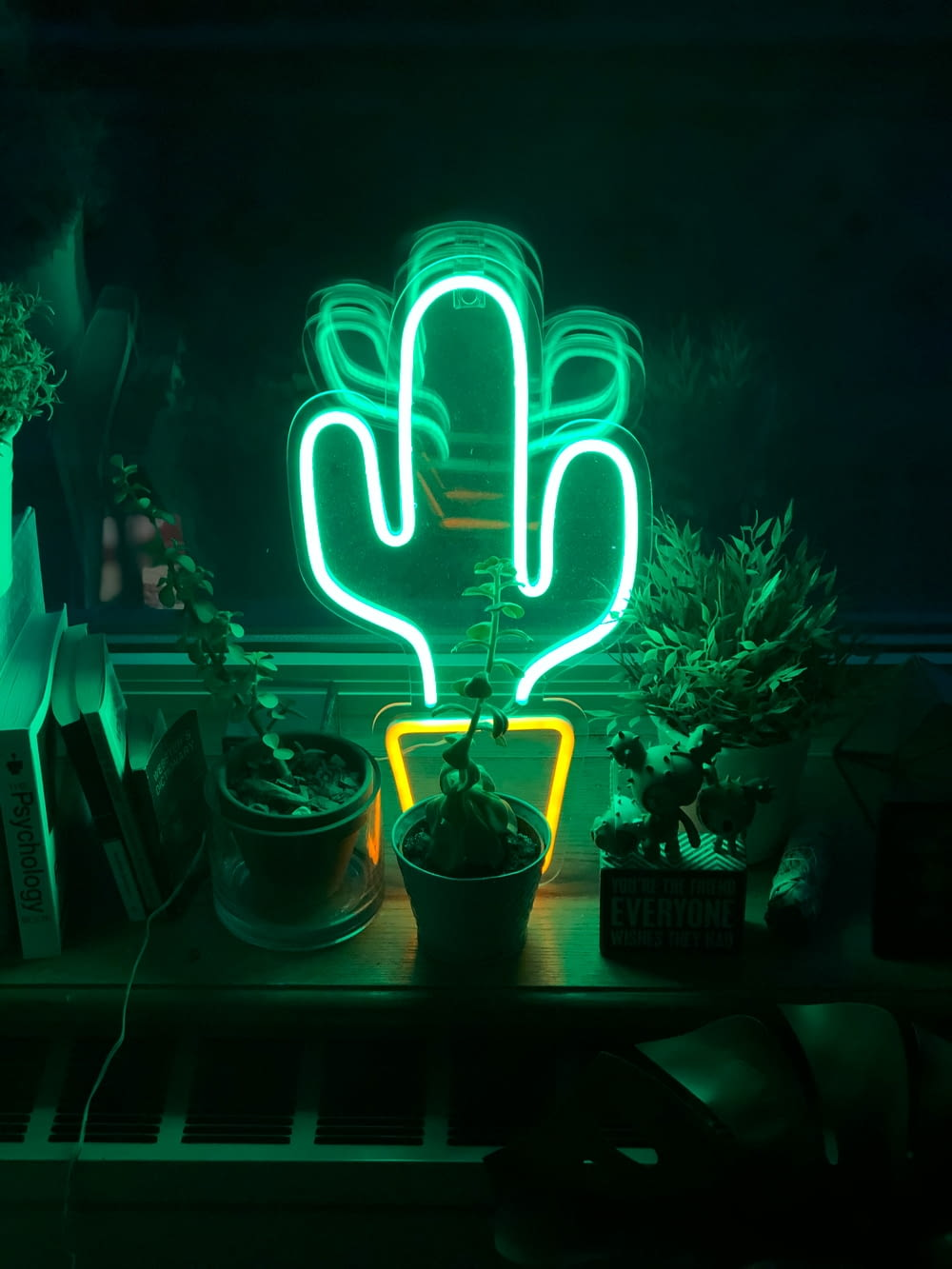 LED cactus neon light on table