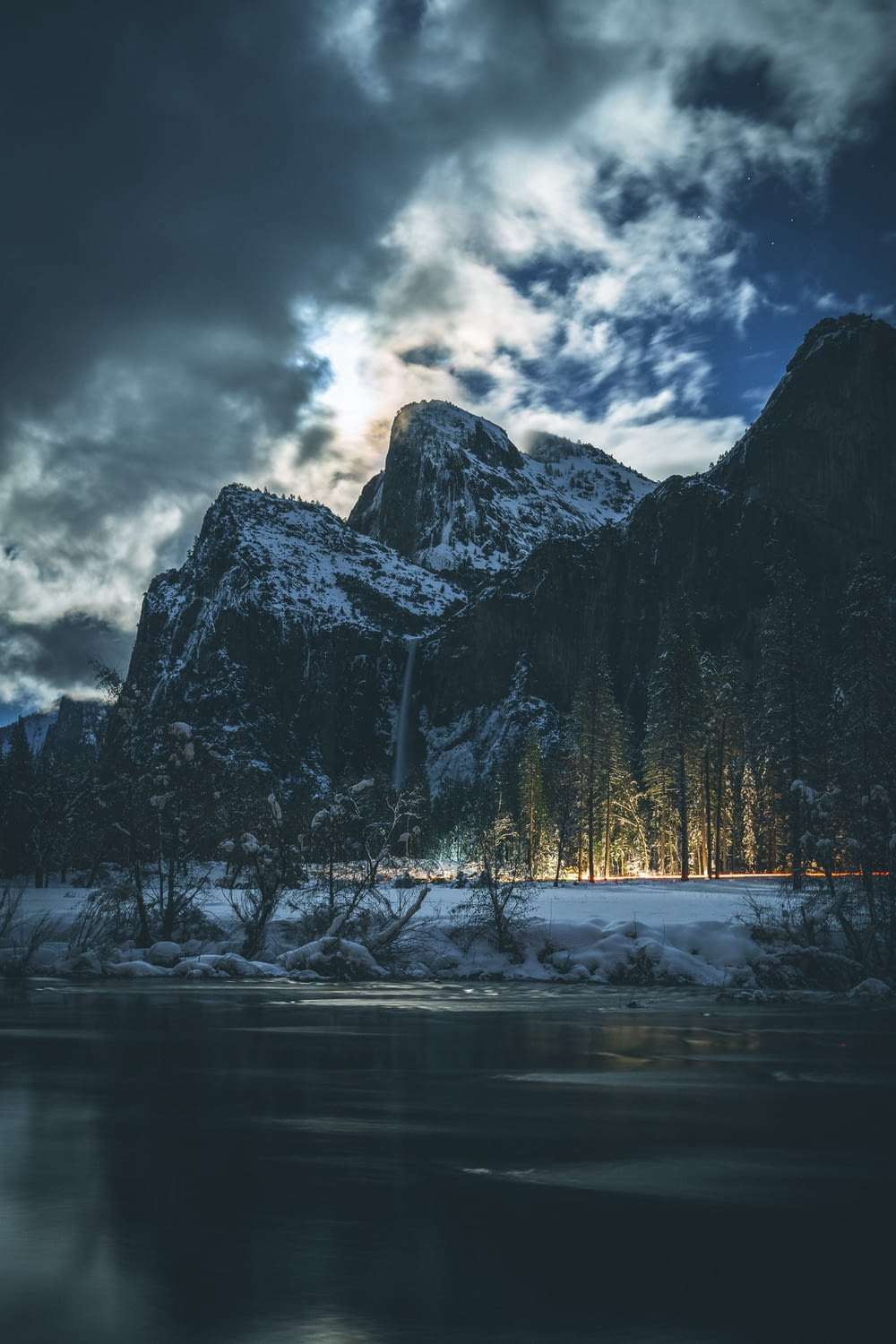 landscape photography of mountain under white sky