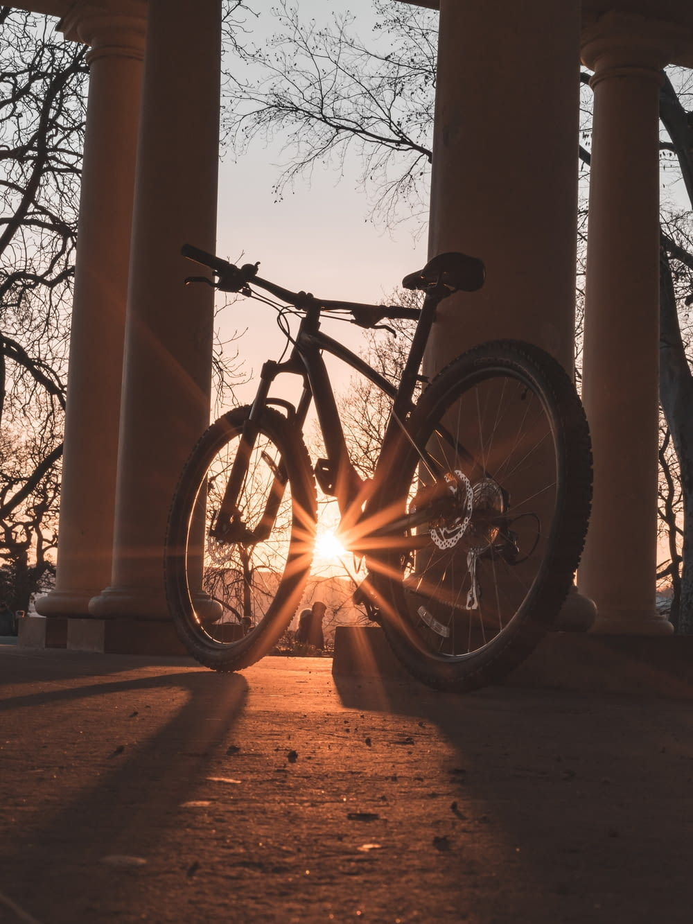 rigid bicycle under sunrays