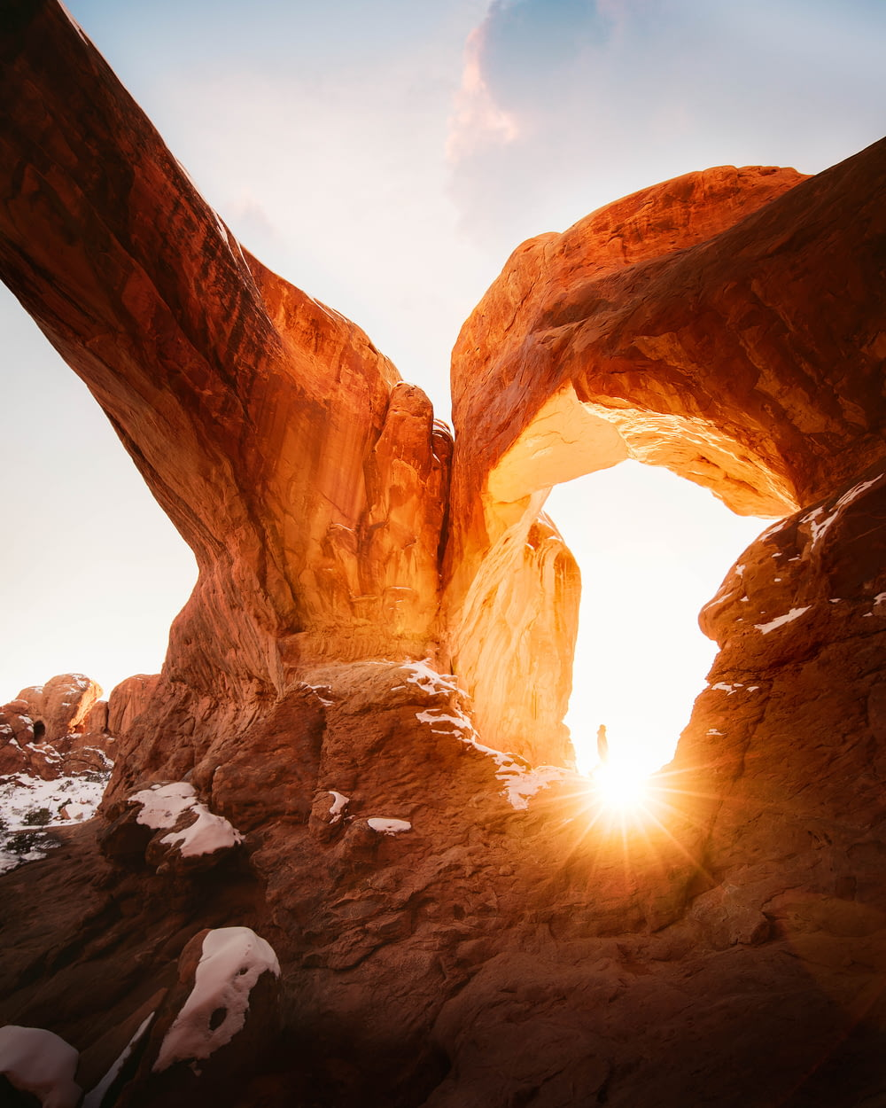 Natural arch during golden hour