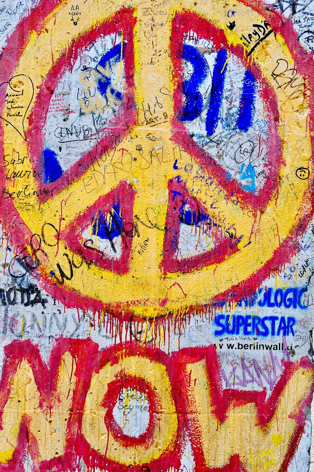 yellow and red peace sign