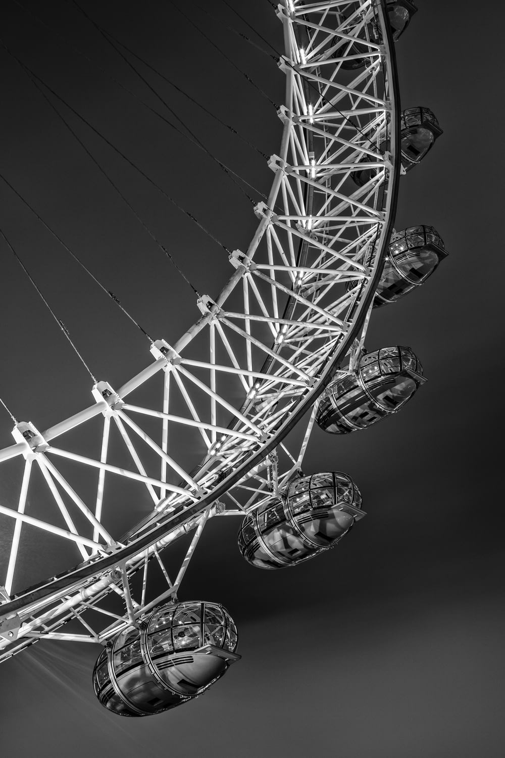 grayscale photo of ferris wheel