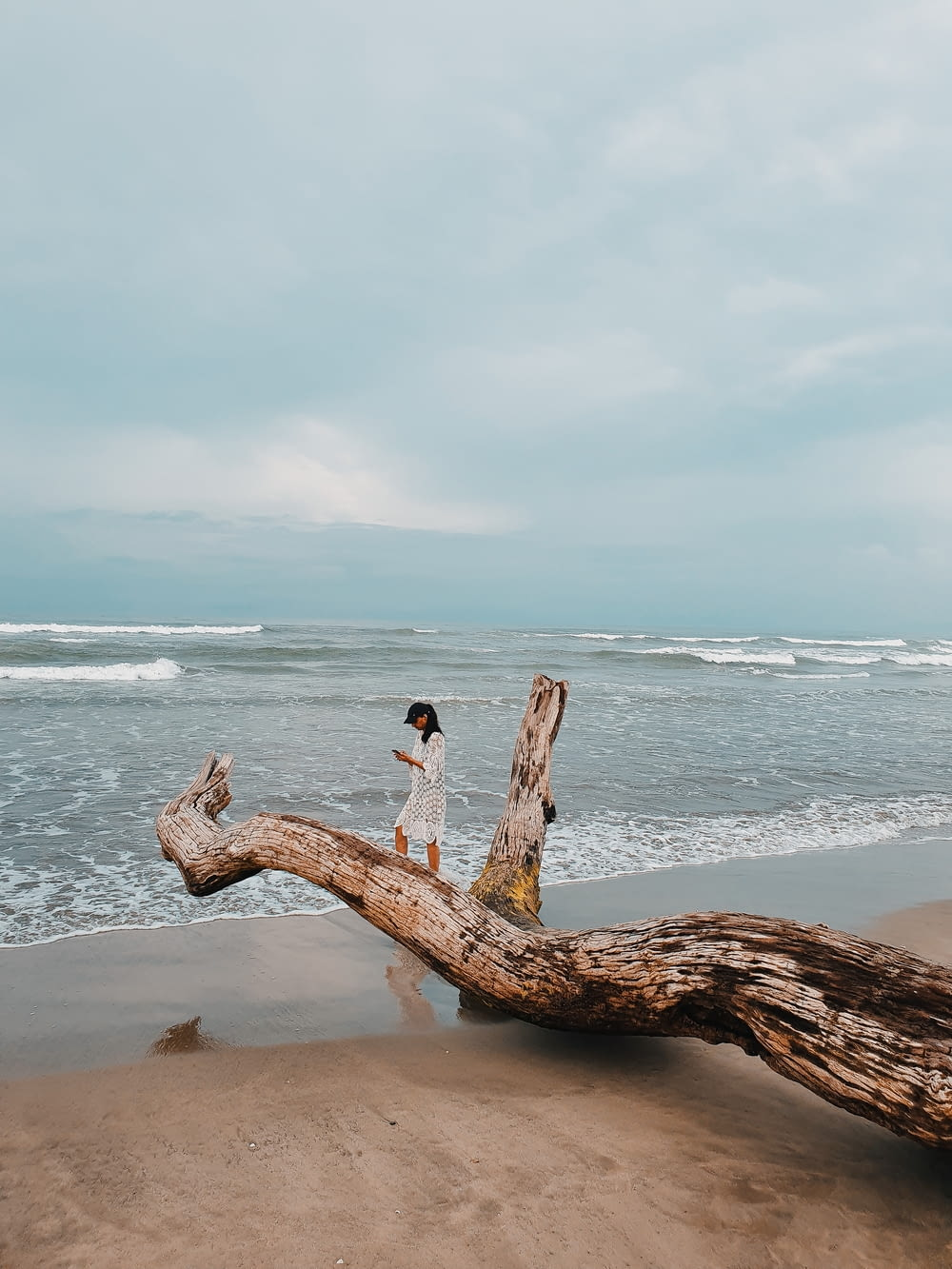 woman standing on brown driftwood during daytime