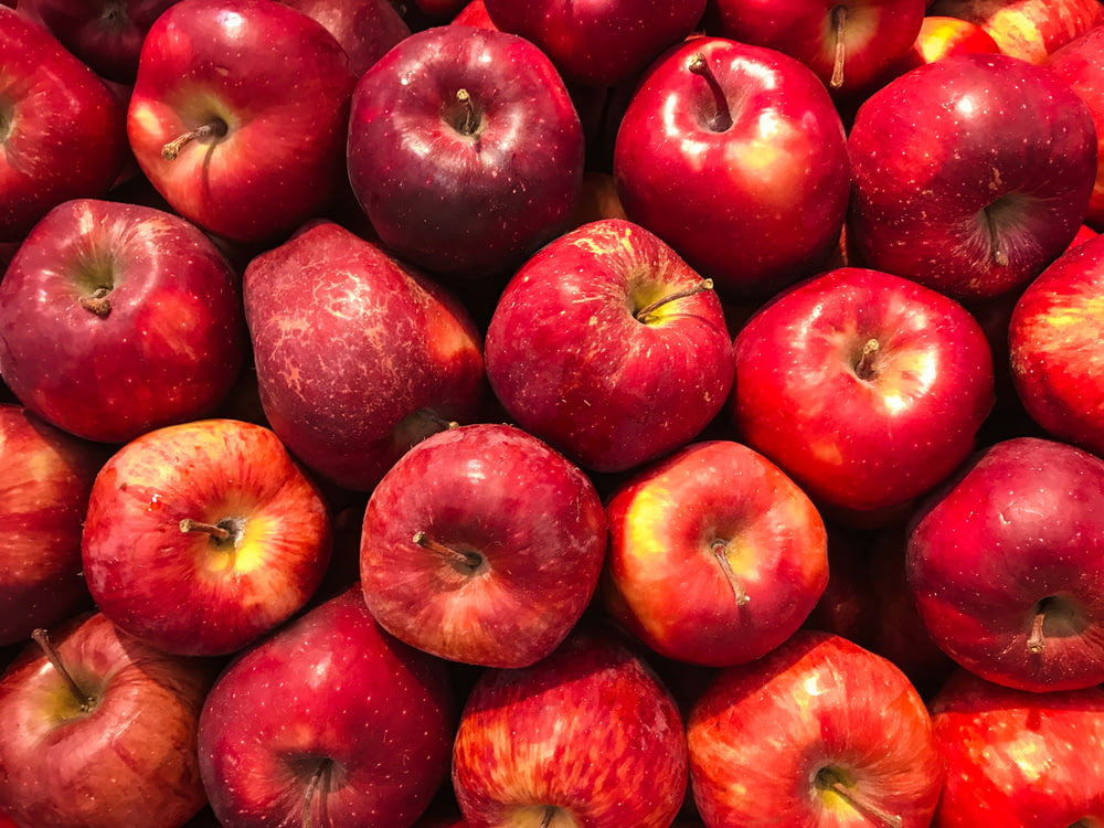 bunch of red apples