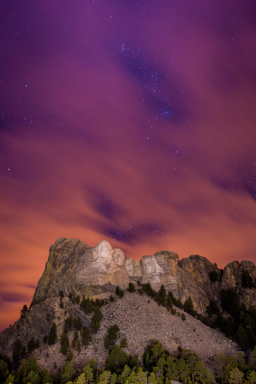 The Stars peak through the clouds at Mount Rushmore