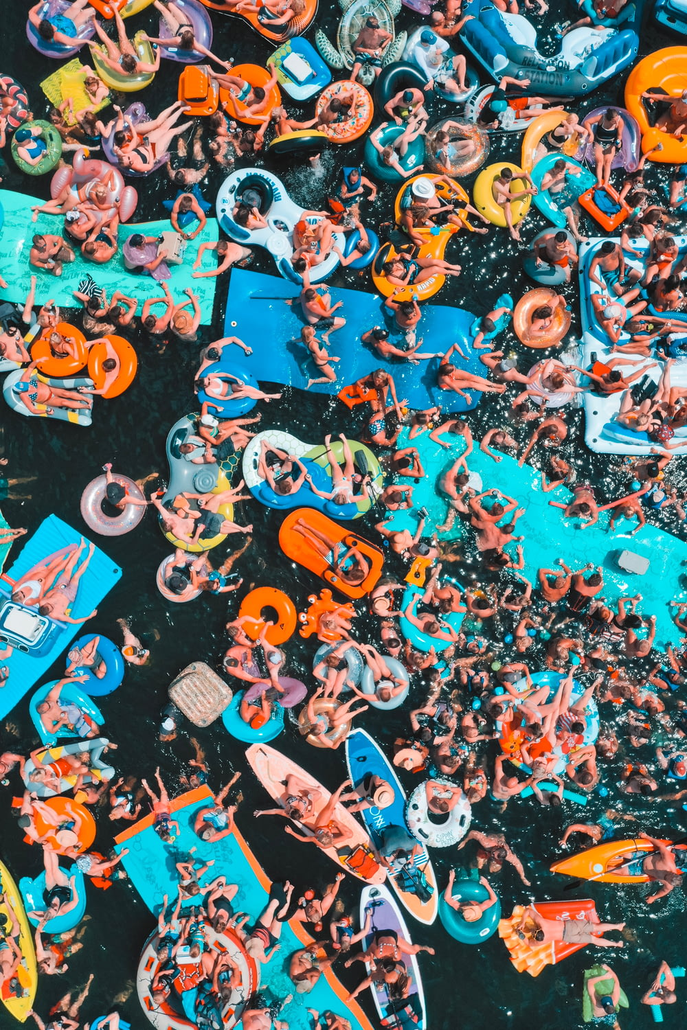aerial photography of people on sea during daytime