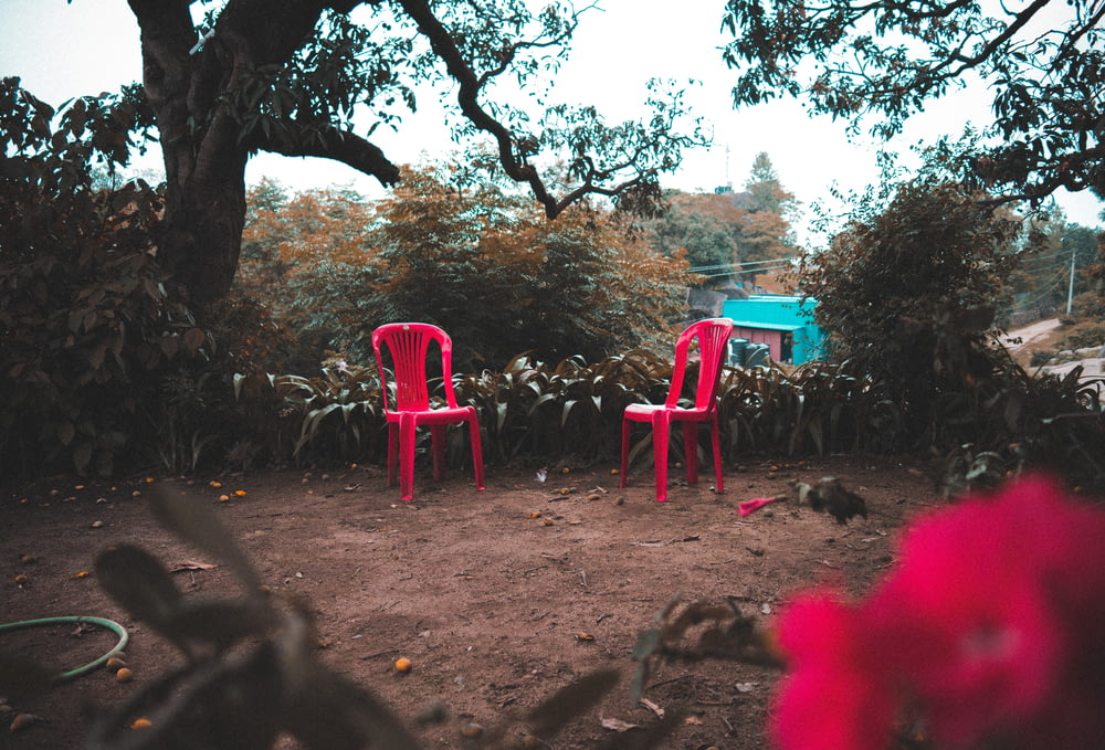 two red monobloc chairs near trees
