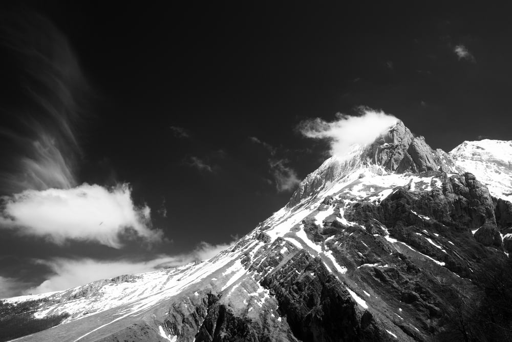 gray-scale photo of mountain