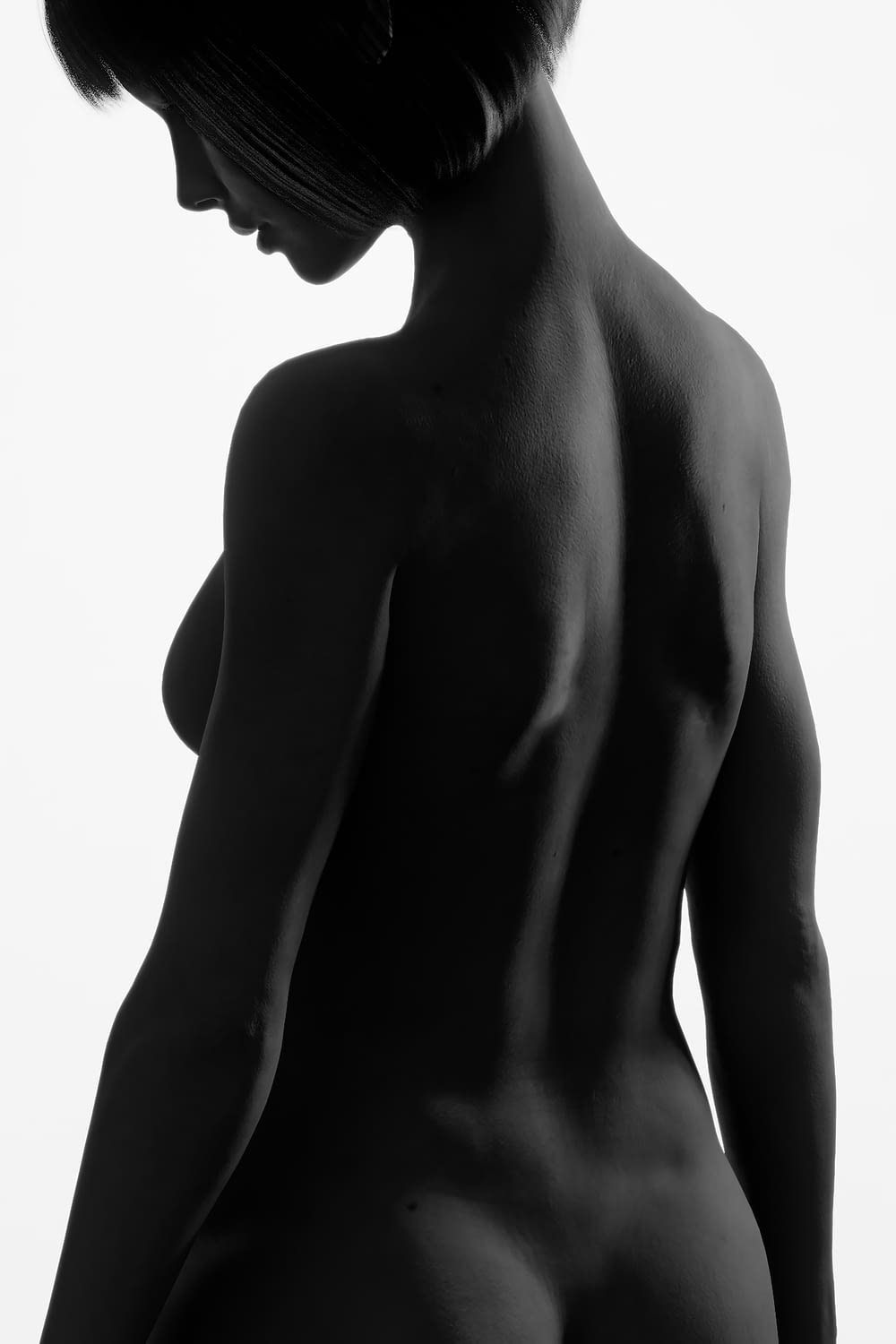 silhouette of naked woman