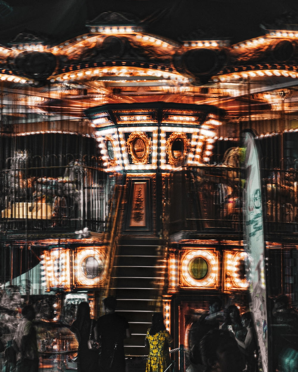 long-exposure photography of carousel