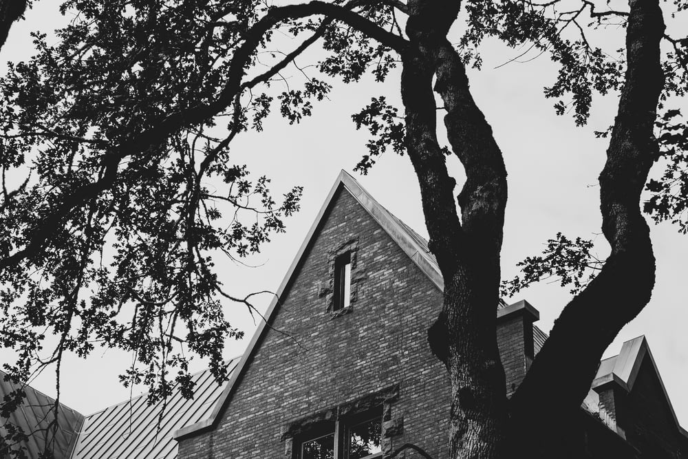 grayscale photo of a brick house