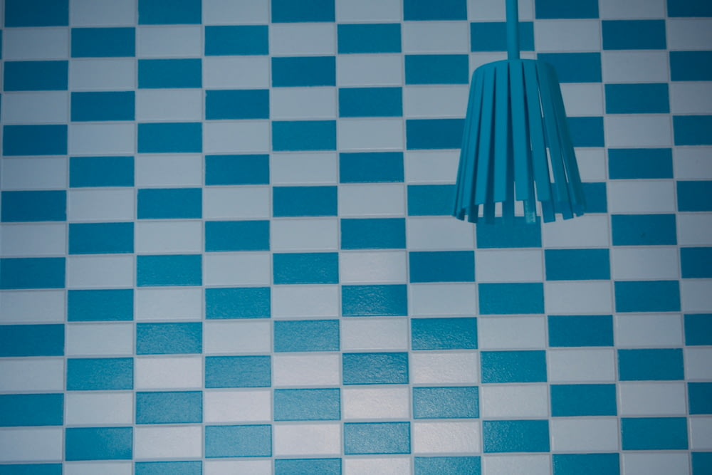 white and teal checkered ceramic tiles